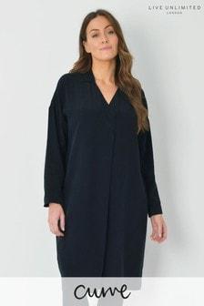 Live Unlimited Curve Black Cupro Shirt Dress