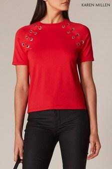 Karen Millen Red Eyelet T-Shirt