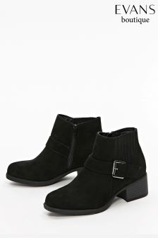 999b4c411ddb Evans Black Extra Wide Fit Elastic Detail Square Boot