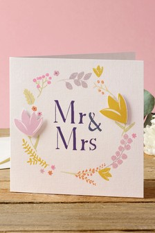 Floral Mr And Mrs Wedding Card