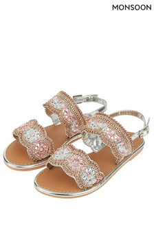 Monsoon Silver Penelope Pretty Beaded Scalloped Sandal