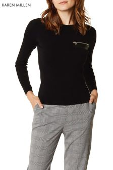 Karen Millen Black PU Zip Detail Jumper