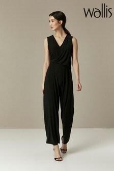 Wallis Black Drape Jersey Jumpsuit