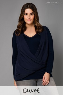 Live Unlimited Navy Twist Front Top