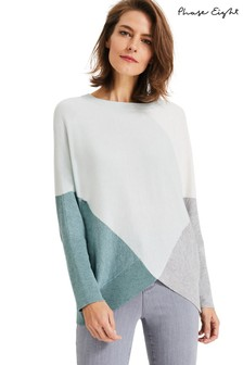 Phase Eight Green Charlize Colourblock Knit