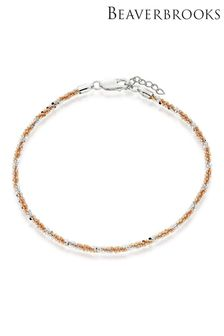 Beaverbrooks Silver And Rose Gold Plated Anklet