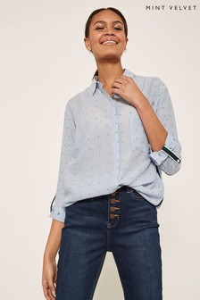 Mint Velvet Blue Cross Stitch Stripe Shirt
