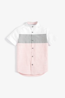 Short Sleeve Colourblock Fin Collar Shirt (3-16yrs)