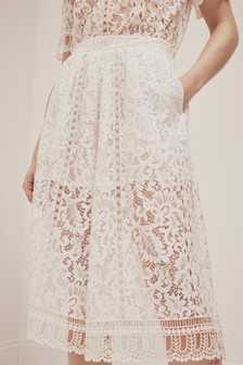 French Connection White Arta Lace Culottes