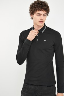 Emporio Armani Black Long Sleeve Poloshirt