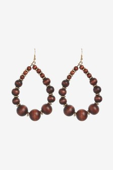 Wood Beaded Statement Earrings