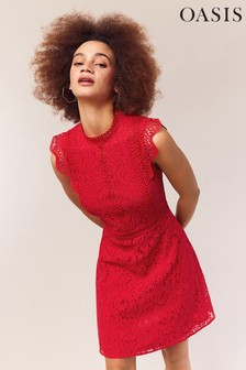 57b5bca78b Oasis Red Lace Trimmed Skater Dress