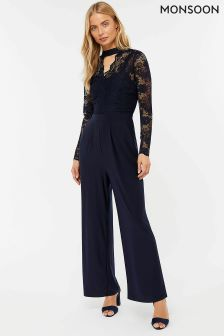 Monsoon Blue Matisse Lace Jumpsuit
