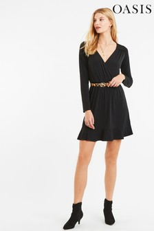Oasis Black Sheered Waist Dress