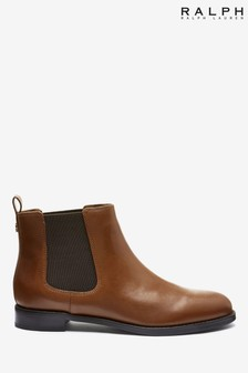 Ralph Lauren Tan Leather Chelsea Boots