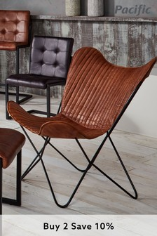 Pacific Vintage Brown Leather And Iron Butterfly Chair