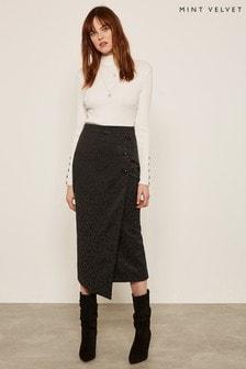 Mint Velvet Black Leopard Jacquard Skirt