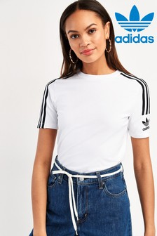 adidas Originals White 3 Stripe Trefoil T-Shirt