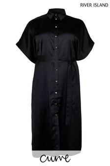 River Island Plus Black Short Sleeve Contrast Chiffon Midi Shirt