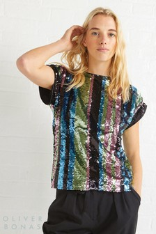 Oliver Bonas Metallic Reflect Sequin Ombre Top