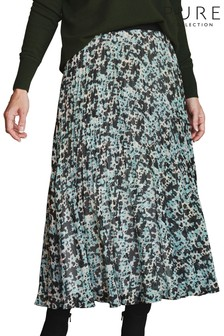 Pure Collection Green Pleat Midi Skirt