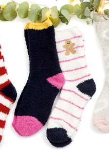 Gingerbread Man Embroidered Bed Socks Two Pack