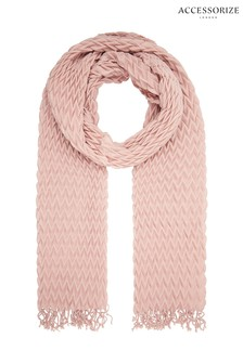 Accessorize Pink Leela Pleated Scarf