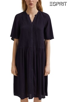 Esprit Blue Smocked Shirt Dress