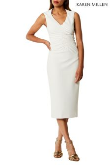 Karen Millen White Controlled Ruched Collection Dress