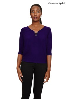 Phase Eight Purple Cristine Metal Trim Batwing Knit
