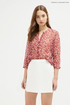 French Connection Red Bruna Crinkle Collarless Shirt