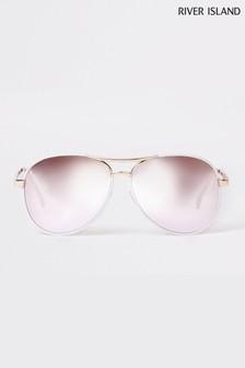 River Island Pilotensonnenbrille mit Revo-Gläsern, Weiß