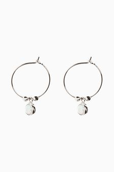Opal Charm Hoop Earrings