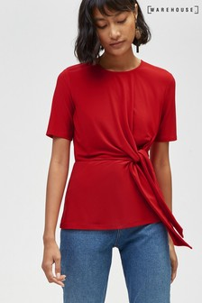 Warehouse Red Tie Front Top