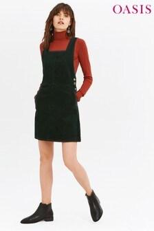 Oasis Deep Green Cord Pinafore Dress