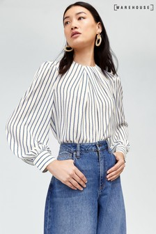 Warehouse White Rope Stripe Pleat Neck Top