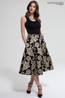 HotSquash Gold Brocade Midi Skirt