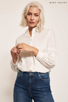 Mint Velvet White Wrap Back Cotton Shirt