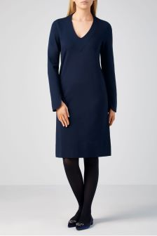 Pure Collection Blue Ponte V-Neck Dress