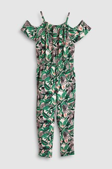 Lemur Print Cold Shoulder Jumpsuit (3-16yrs)