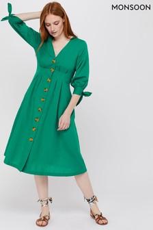 Monsoon Ladies Green Molly Linen Midi Button Dress