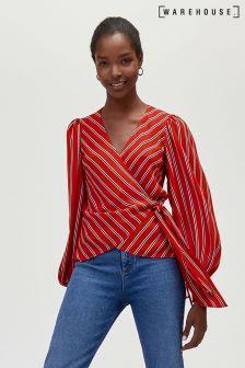Warehouse Red Stripe Wrap Tie Blouse