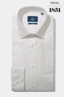 Moss 1851 Tailored White Cuff Egyptian Cotton Textured Shirt