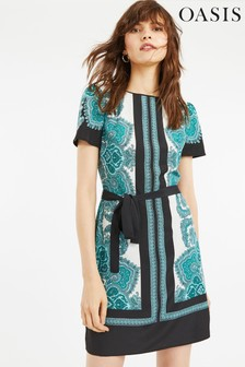 Oasis Green Paisley Shift Dress