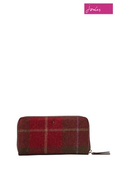 Joules Check Tweed Purse With Zip Fastening