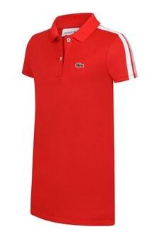 Girls Red Short Sleeved Polo Dress