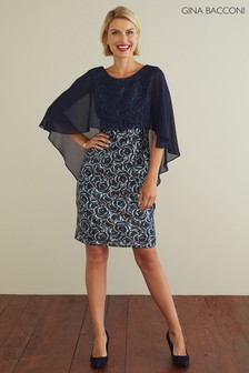 Gina Bacconi Navy Sharona Sequin Dress With Chiffon Cape