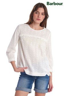 Barbour® Heritage White Broderie Anglaise Ruffle Blouse