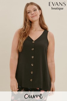 Evans Black Curve Button Through Cami