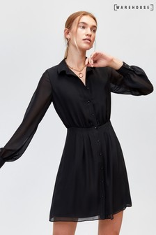 Warehouse Black Chiffon Pintuck Shirt Dress